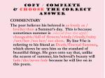 copy complete choose the correct answer
