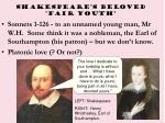 shakespeare s beloved fair youth
