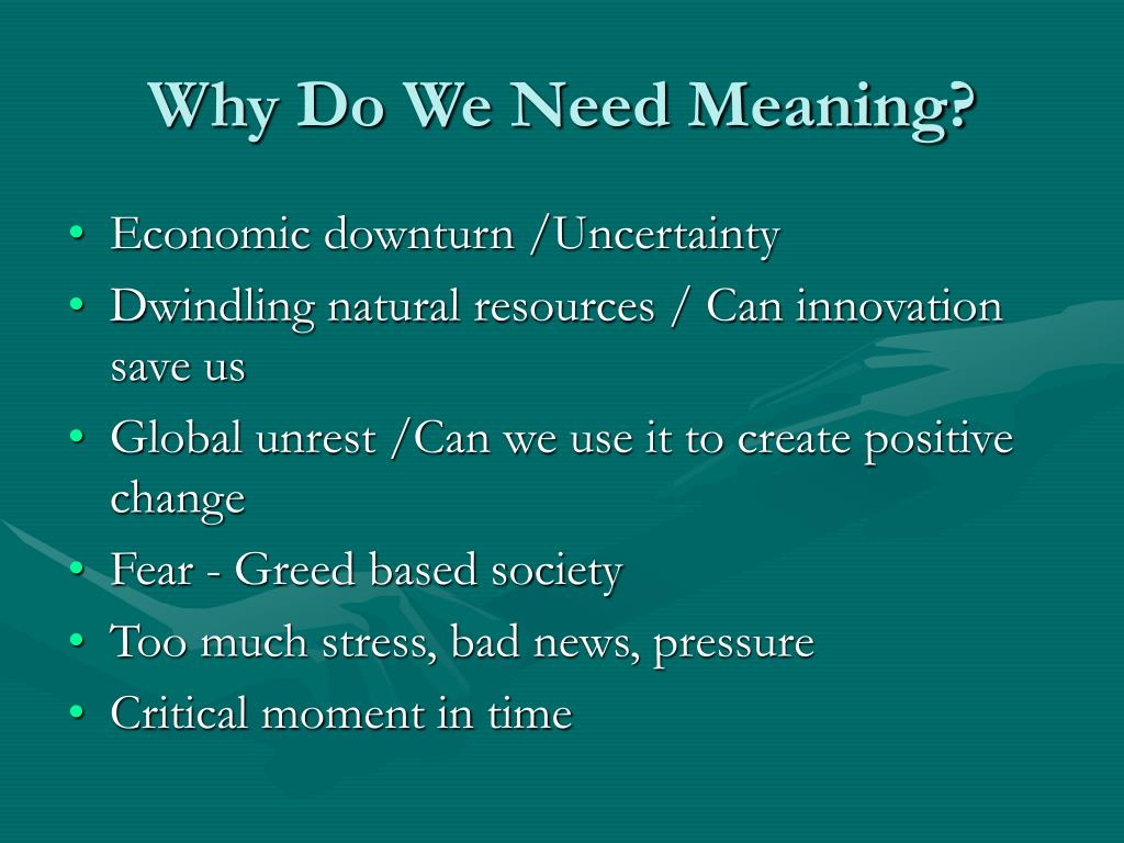 Why Do We Need Meaning?