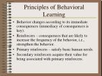 principles of behavioral learning
