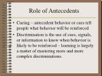 role of antecedents