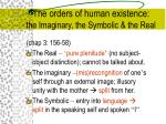 the orders of human existence the imaginary the symbolic the real