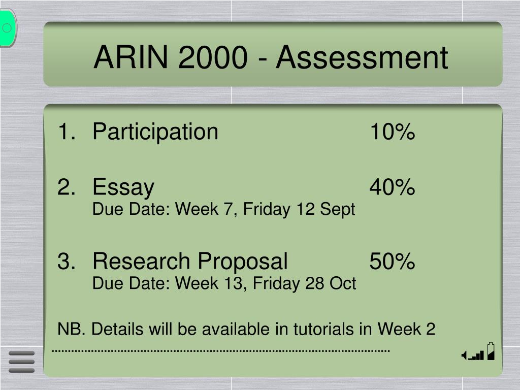 ARIN 2000 - Assessment