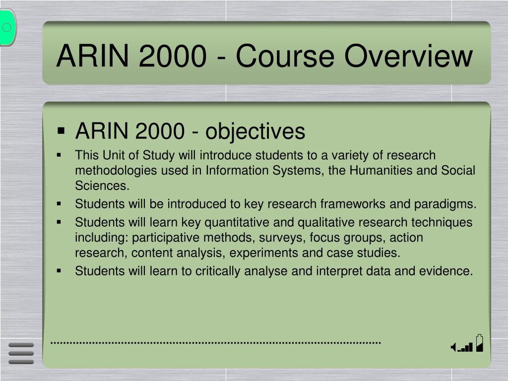 ARIN 2000 - Course Overview