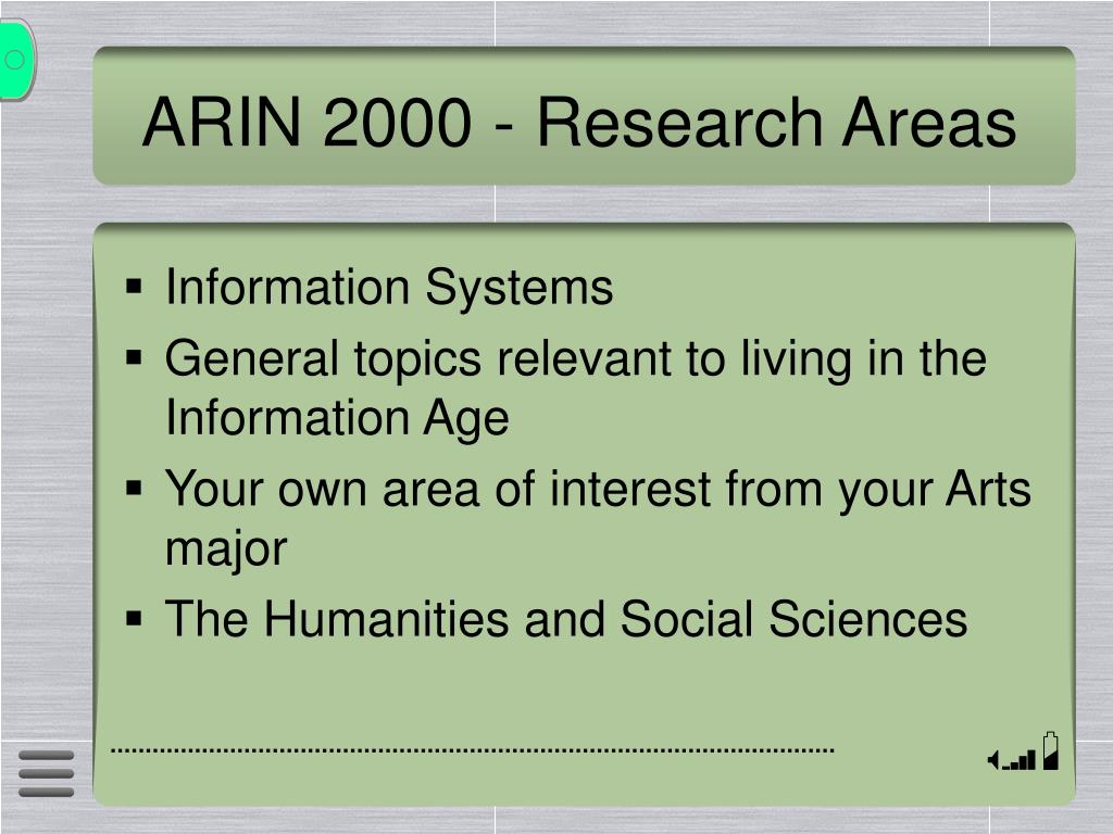 ARIN 2000 - Research Areas