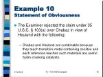 example 10 statement of obviousness