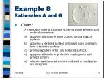 example 8 rationales a and g