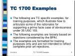 tc 1700 examples