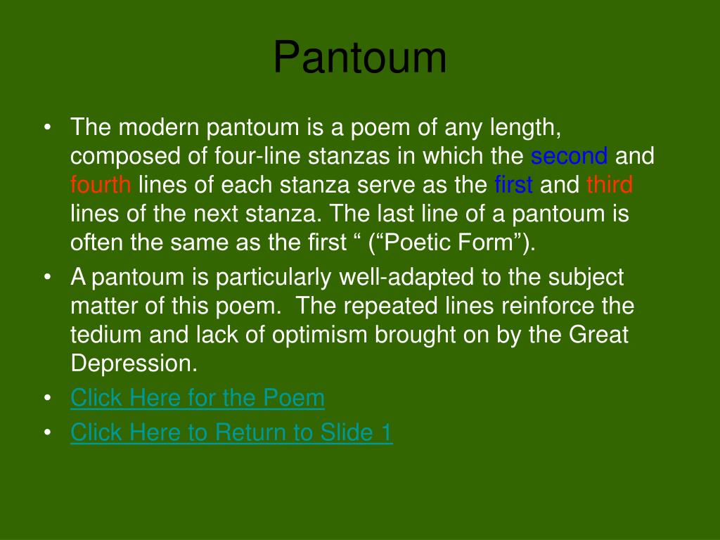 """PPT - """"Pantoum of the Great Depression"""" By Donald Justice ..."""