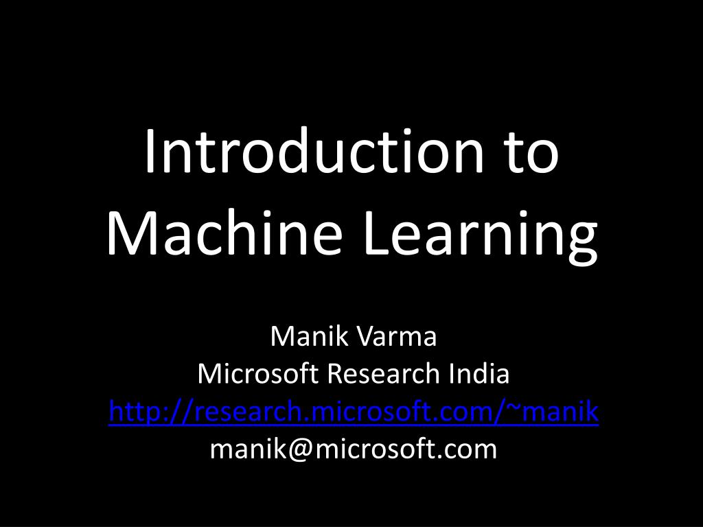 introduction to machine learning l.