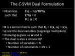 the c svm dual formulation