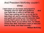 and president mckinley couldn t sleep