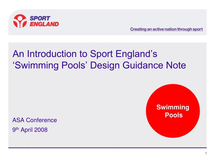 an introduction to sport england s swimming pools design guidance note n.
