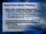 report from berlin findings