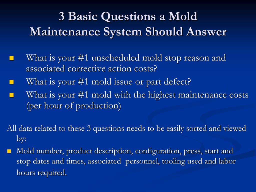 PPT - Redefining Mold Maintenance PowerPoint Presentation