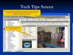 tech tips screen