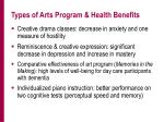 types of arts program health benefits