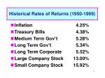 historical rates of returns 1950 1999