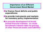 importance of an efficient government bond market