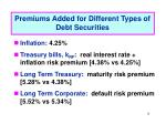 premiums added for different types of debt securities