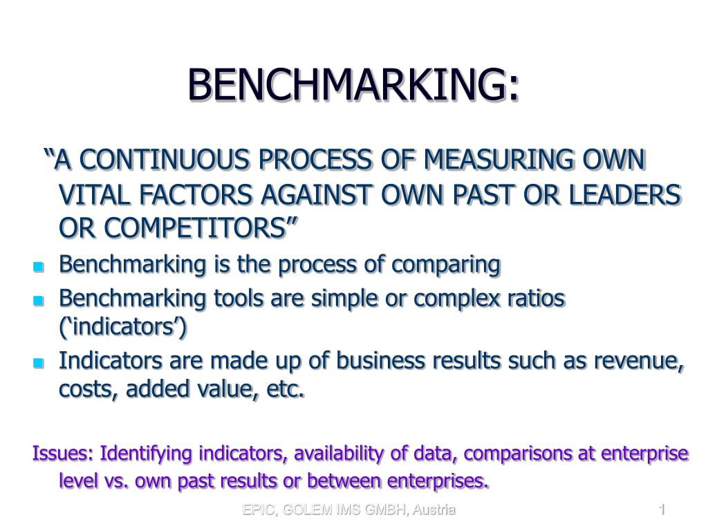 benchmarking l.