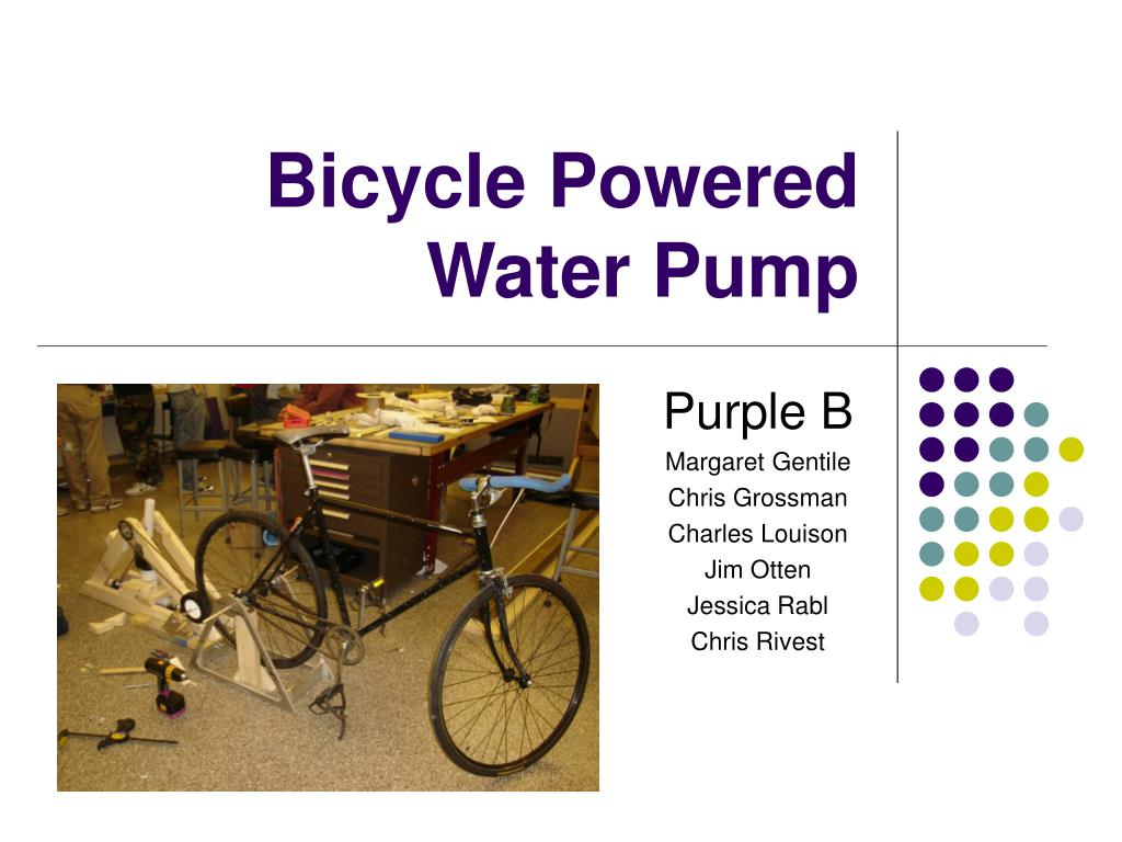 bicycle powered water pump l.