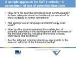 a sample approach for sat 2 criterion 1 assessment of use of potential directions