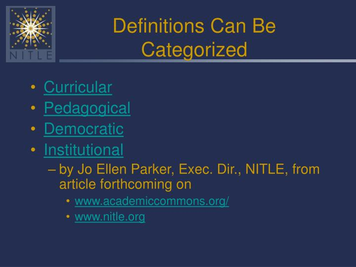 Definitions Can Be Categorized