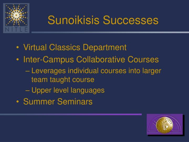 Sunoikisis Successes
