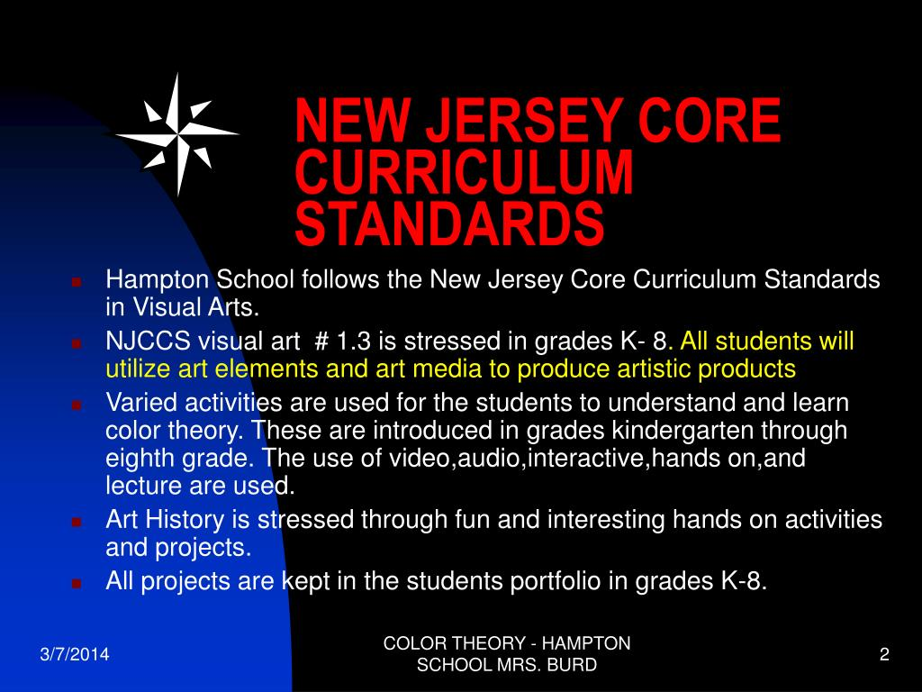NEW JERSEY CORE CURRICULUM STANDARDS