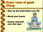 basic rules of good lifting