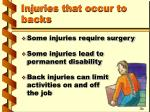 injuries that occur to backs9