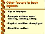 other factors in back injuries