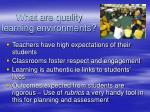 what are quality learning environments
