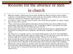 reasons for the absence of men in church