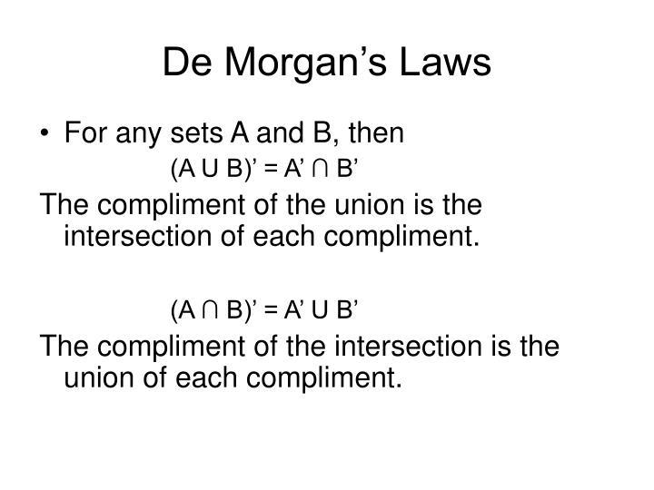 De morgan s laws