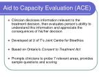 aid to capacity evaluation ace