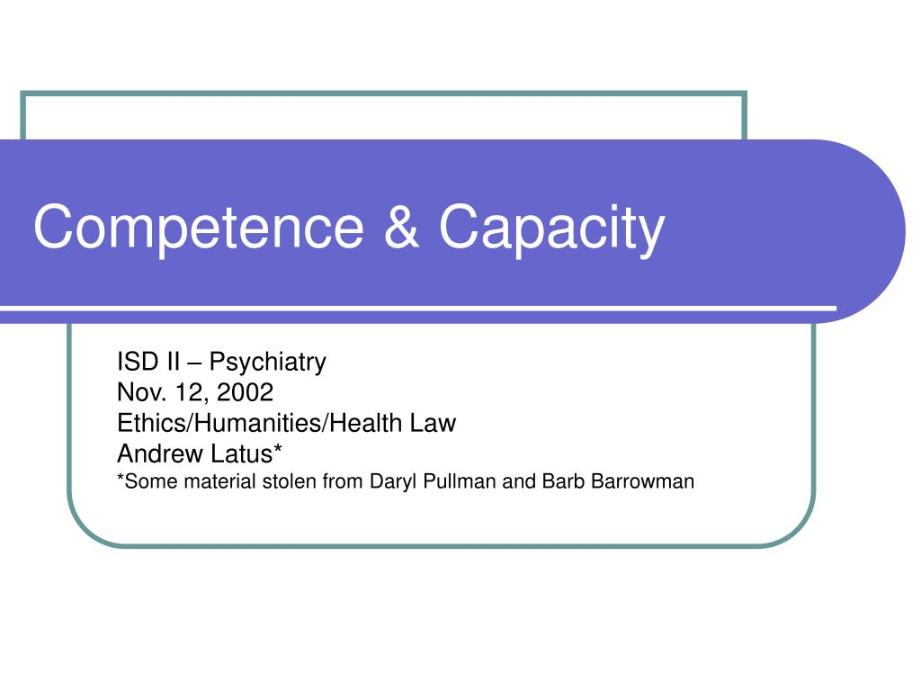 competence capacity l.