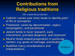 contributions from religious traditions