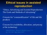 ethical issues in assisted reproduction