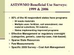 astswmo beneficial use surveys 1999 2006