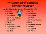 7 th grade block schedule monday thursday