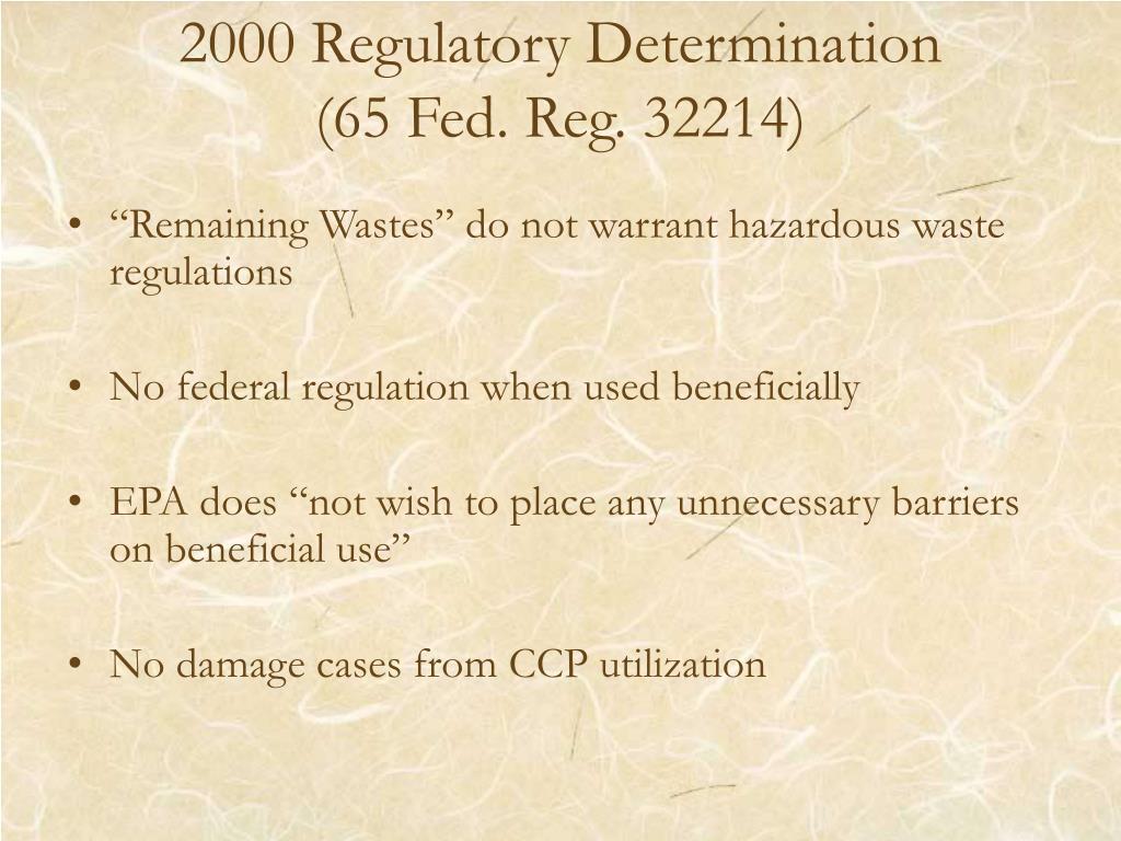 2000 Regulatory Determination