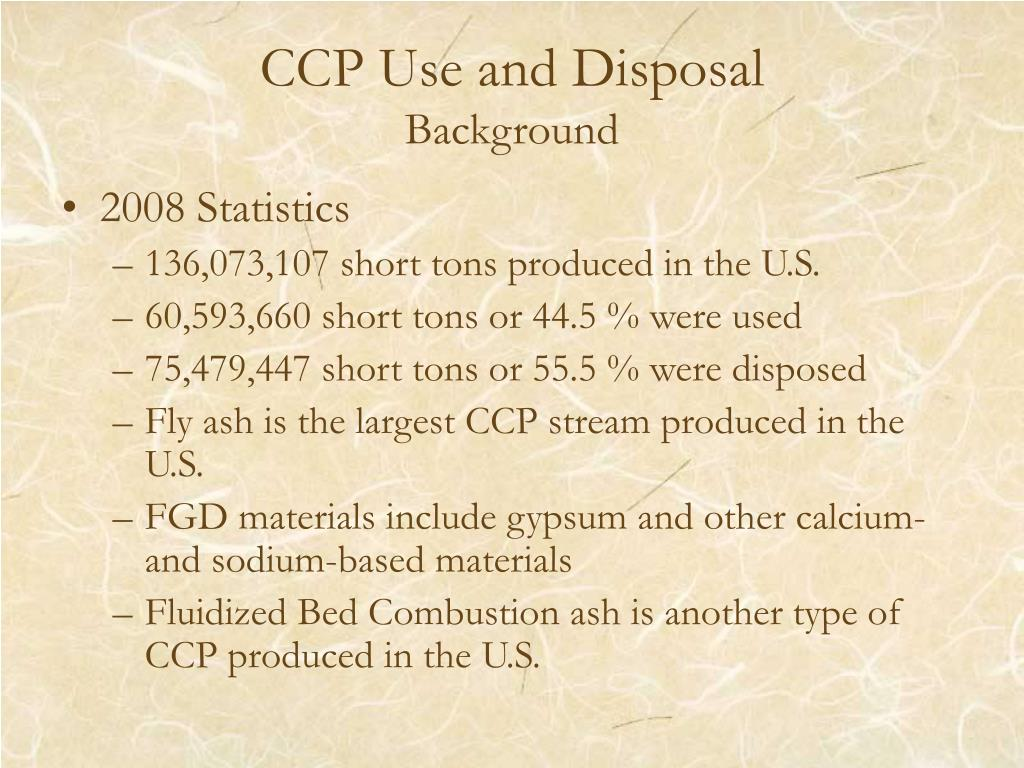 CCP Use and Disposal