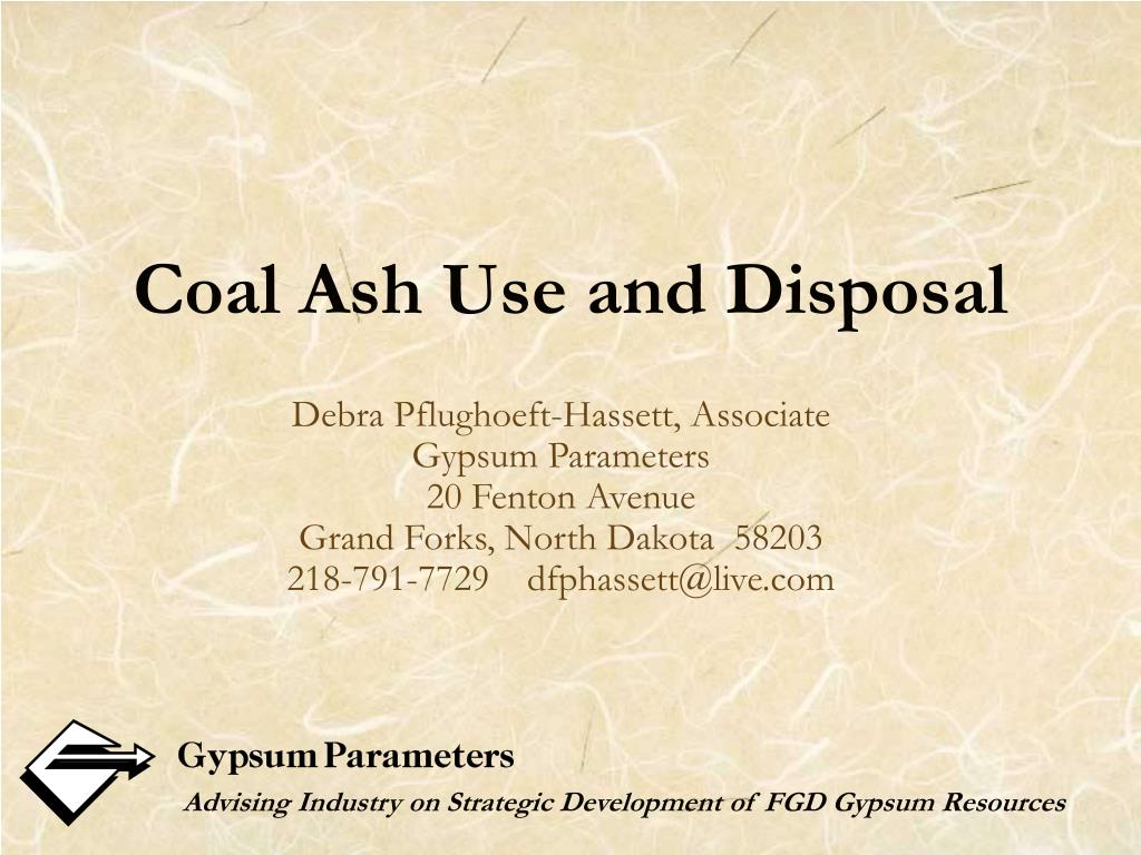coal ash use and disposal l.