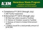 hazardous waste program industrial governmental compliance and enforcement