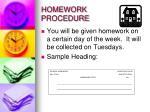 homework procedure