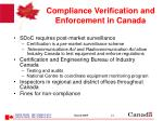 compliance verification and enforcement in canada