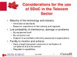 considerations for the use of sdoc in the telecom sector