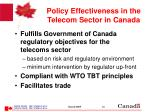 policy effectiveness in the telecom sector in canada